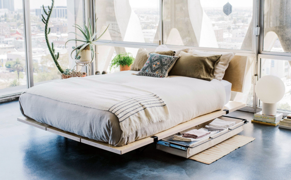 The platform bed can also come with a headboard and underbed storage.