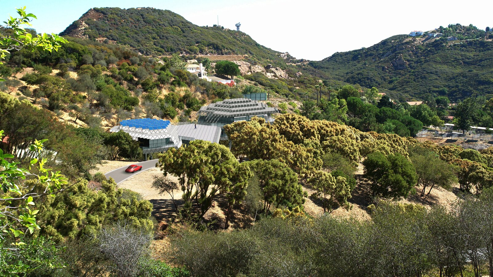 Montage of computer rendering of Ecohouse superimposed in a photograph of the actual project site in the Santa Monica Mountains, Los Angeles County, above Malibu.