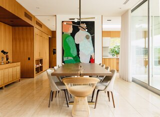 Homeowner Robert Galishoff's background in fashion and design shines through in the home's artwork, lighting, and furniture selection.