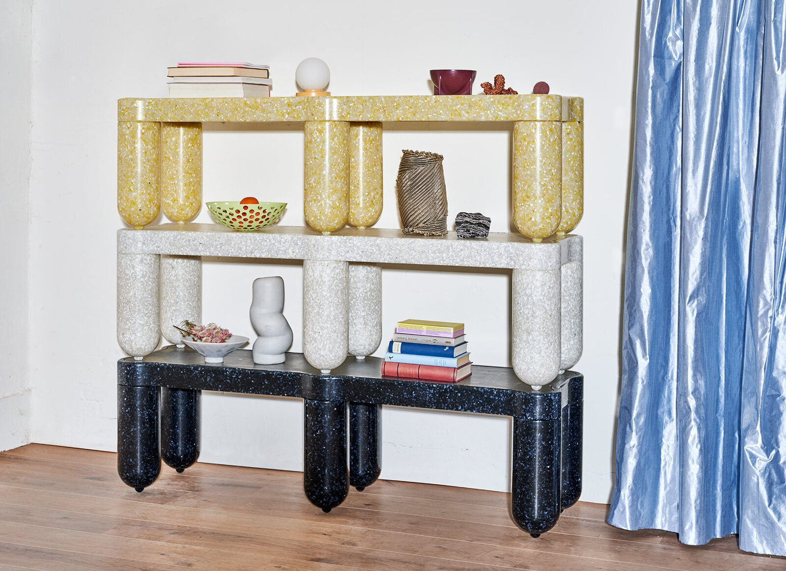 Afterlife, designed by Rotterdam-based design duo Odd Matter, is a line of benches and crates made of post-consumer waste, like squeeze bottles, toys, and packaging.  Photo 8 of 11 in Going Circular Is the New Green—Here's How Home Goods Companies Are Closing the Loop
