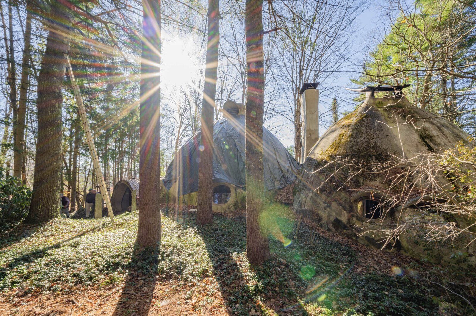 Air ducts on top of the two main domes help to circulate air and provide natural ventilation.  Photo 12 of 12 in Asking $220K, an Architect's Handcrafted Earthen Home Seeks a Visionary Buyer in Vermont