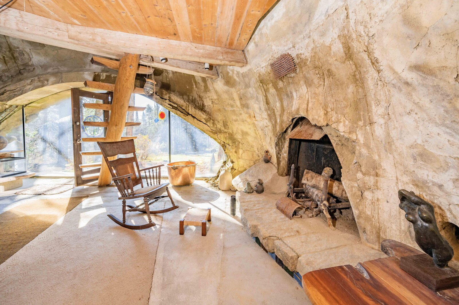 The nearly 1,500-square-foot home has been vacant since Chappelle's death over two years ago, leading to the exacerbation of leaks in some areas.  Photo 4 of 12 in Asking $220K, an Architect's Handcrafted Earthen Home Seeks a Visionary Buyer in Vermont