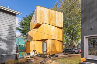 In Cambridge, a Plywood-Clad Home With a Twist Asks $850K