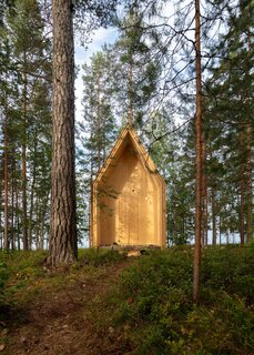 "Kynttilä, which translates to ""candle,"" is a wood-clad prefab cabin tucked away in an untouched forested area in Eastern Finland. The structure was recently built by ORTRAUM Architects."