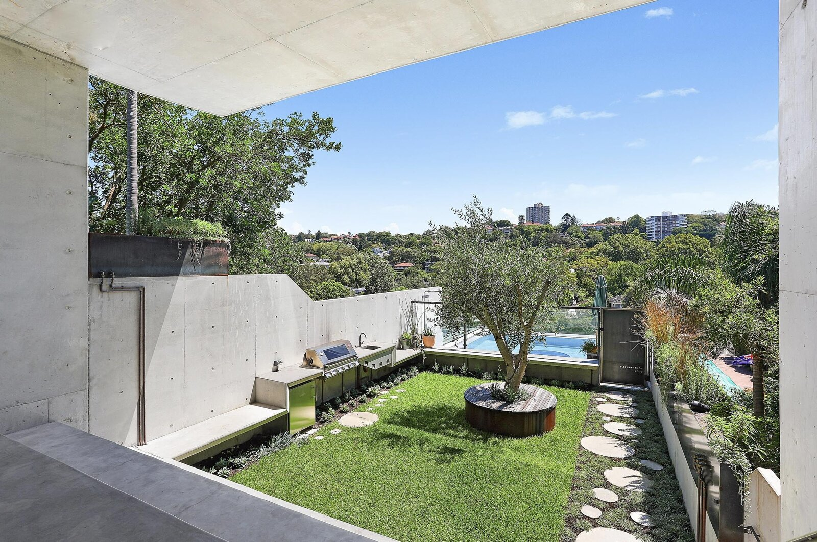 Sydney concrete home backyard