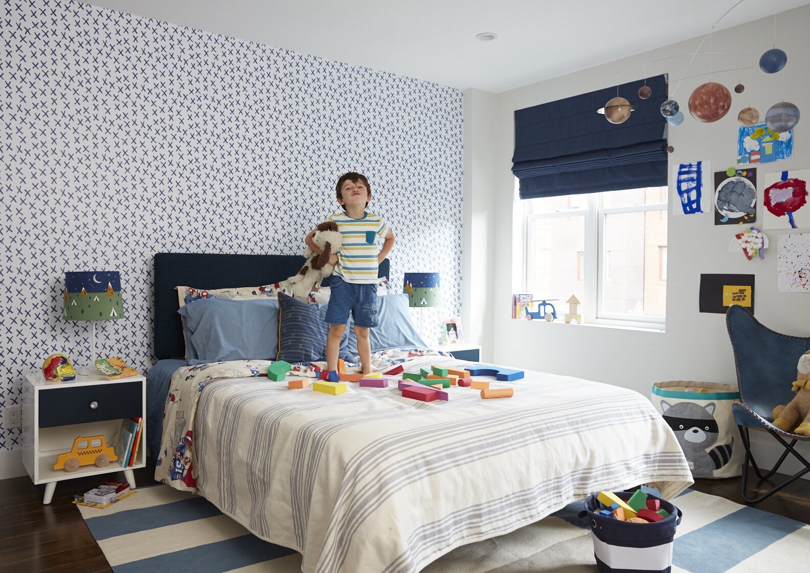"""""""Temporary wallpaper can offer a low-commitment strategy to transform a room,"""" says Frederick Tang. Here, a design by Chasing Paper features a graphic """"X"""" pattern.  Photo 4 of 13 in How to Design a Room That Grows Up With Your Kids"""