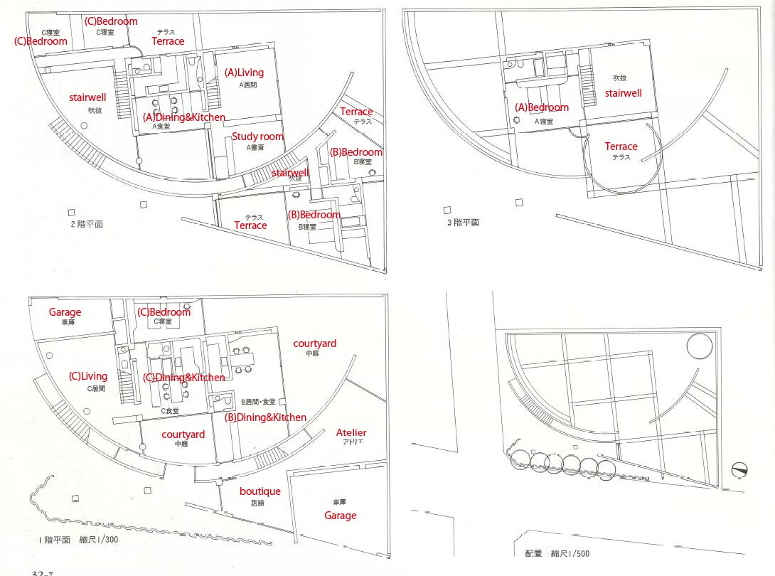 A floor plan of the building shows the clever configuration of the three residences, each of which offers direct access to an outdoor area. Unit A occupies portions of the middle and top floors, while units B and C occupy sections of the middle and ground floors.  Photo 11 of 11 in Tadao Ando's Curved Concrete Ito House Asks $7M in Tokyo