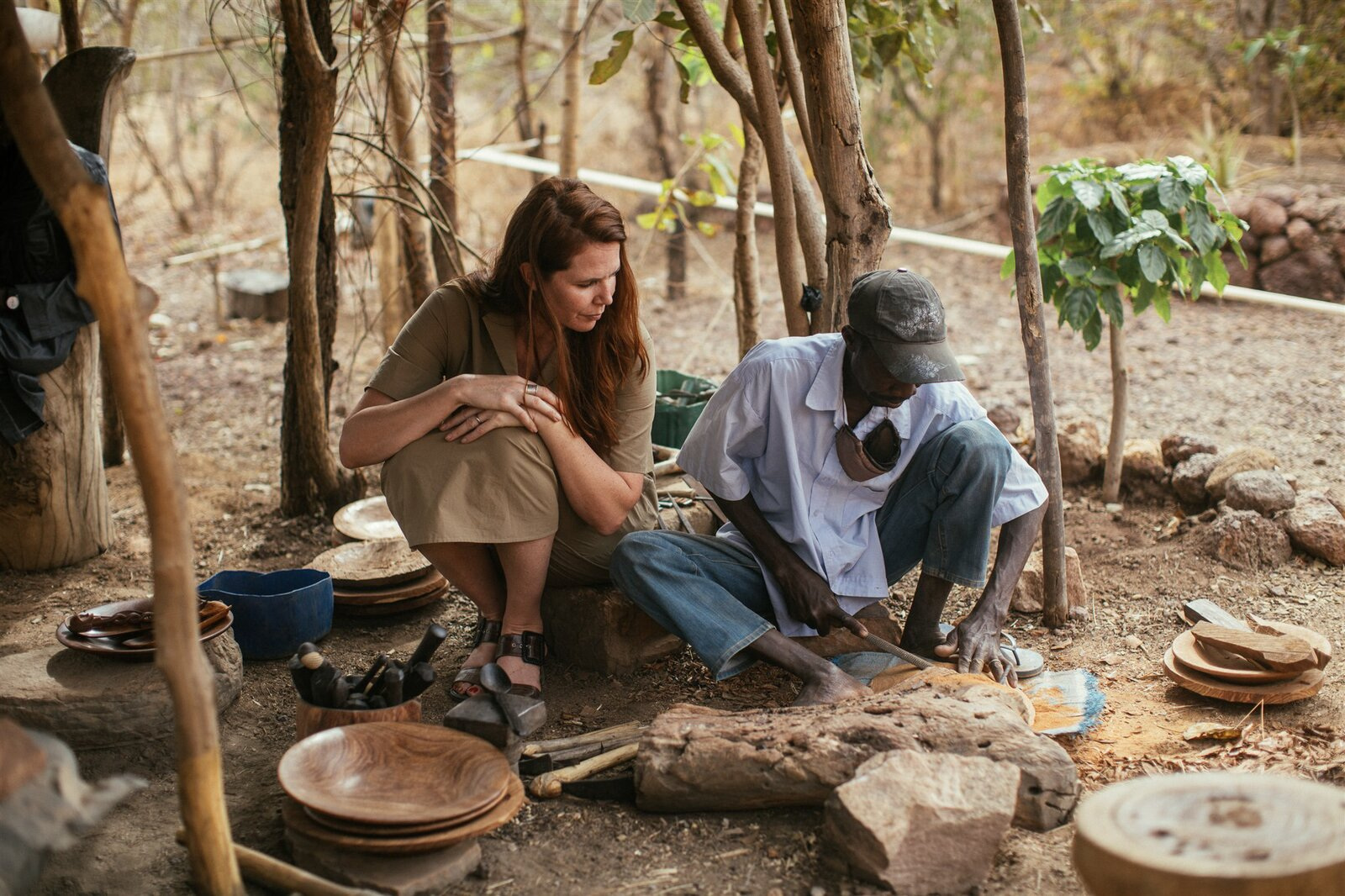 Treana Peake, founder of Obakki and seen here with Amadou, partners with traditional artisans and rural co-ops to create unique, handcrafted goods in small quantities.   Photo 3 of 11 in Obakki's New Collection of Handcrafted Bowls and Spoons Reveals the Beauty of Slow Design