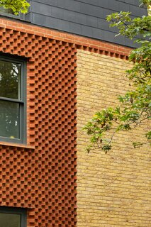 """""""The dogtooth wall has a dynamic quality that a lot of people have a really wonderful reaction to,"""" notes architect and resident Giles Bruce."""