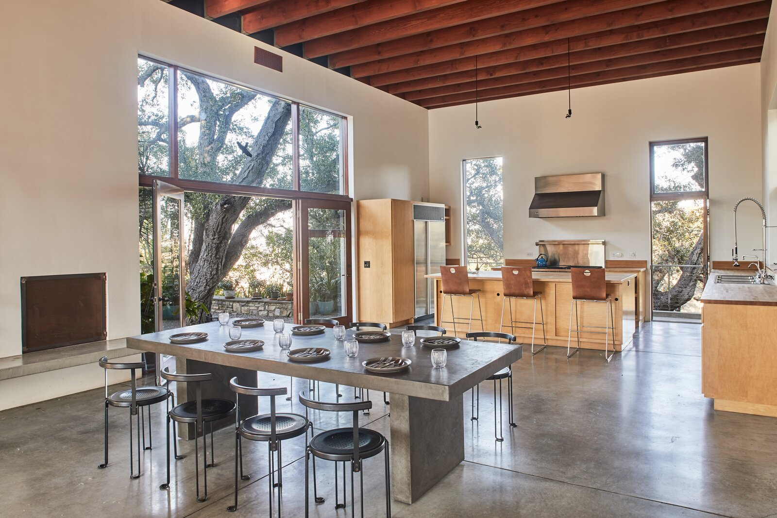Beverly Hills compound kitchen and dining area