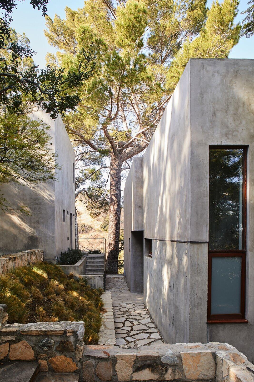 Beverly Hills compound stone walkway