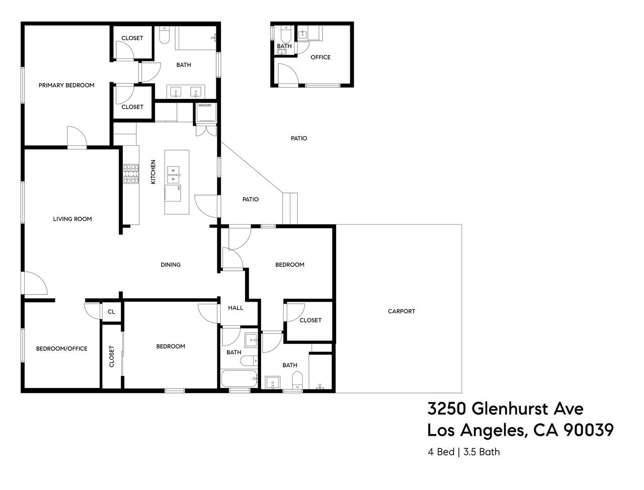 The complete floor plan of 3250 Glenhurst Avenue.  Photo 15 of 15 in A Spanish-Style Charmer With a Backyard Studio Slides Onto the L.A. Market at $1.4M
