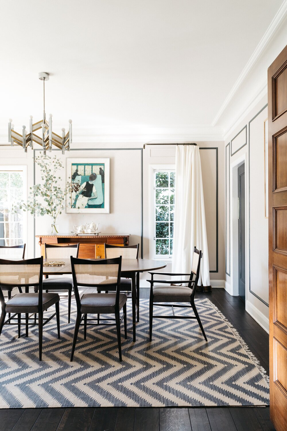 A peek into the formal dining area located off the kitchen.  Photo 5 of 15 in A Posh Tudor-Style Home in L.A. Seeks $7M