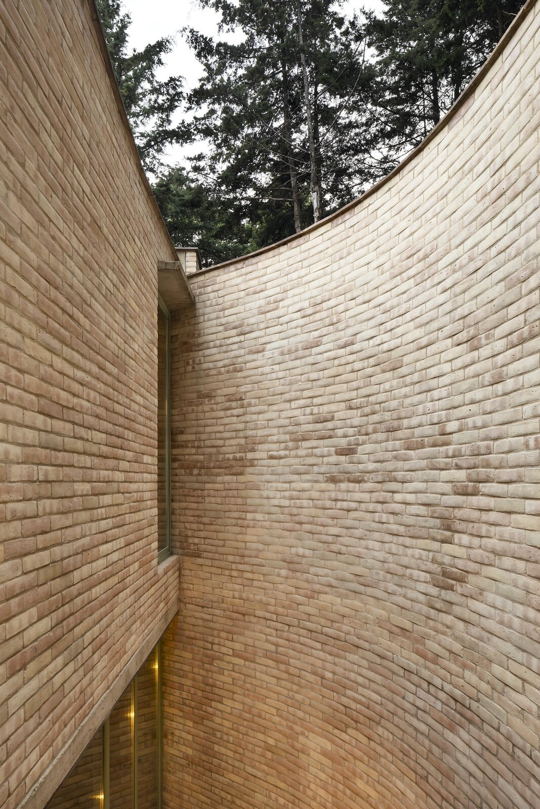 The exterior wall's gentle curve conveys a sense of enclosure.  Photo 4 of 19 in A Curvaceous Brick Home Follows the Edge of a Forest Near Mexico City