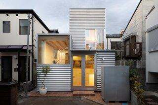 Corrugated Steel Boxes Stack Up to Create a Tiny Home in Tokyo