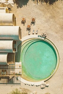 The large saltwater pool is ringed by concentric circles.