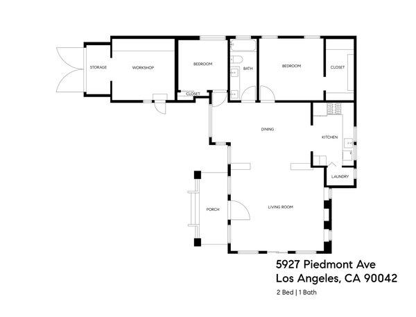 The complete floor plan of 5927 Piedmont Ave.