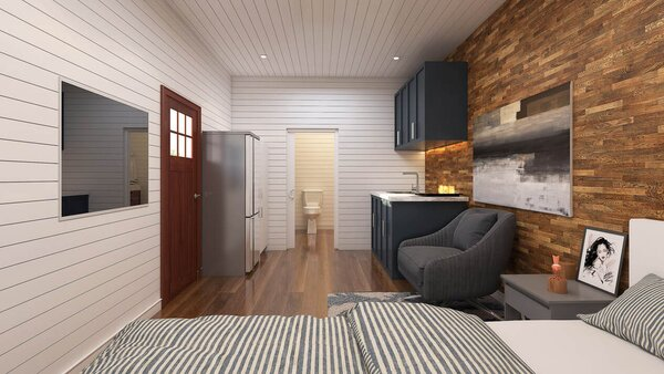 The Bachelor(ette) is one of Custom Container Living's smaller units, coming in at 160 square feet within a single 20-foot-long container. It includes a small galley kitchen, separate bathroom, and space for a twin bed.