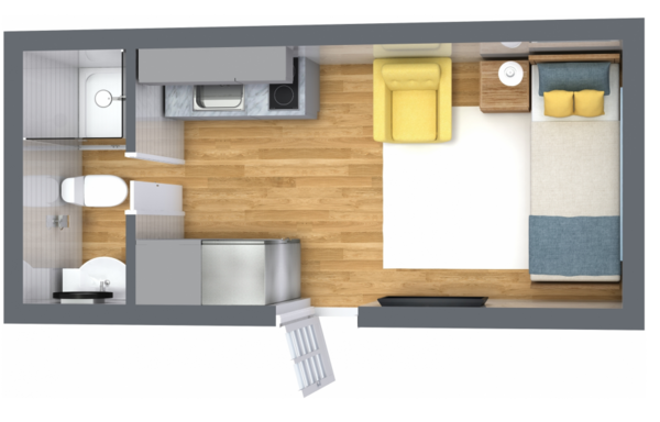 Envisioned as an Airbnb rental, in-law suite, off-grid getaway, or backyard bedroom or office, the design provides space for a 42-inch shower in the bathroom, an armchair, and a twin bed.