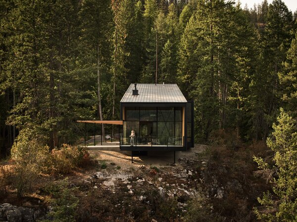 """""""The home noses out of the forest just a little bit, like it's peeking out of the trees,"""" says architect Ray Calabro."""