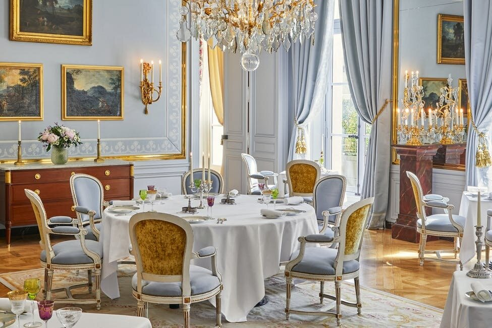 A peek at one of lavishly styled dining areas located in the hotel.  Photo 9 of 11 in The Palace of Versailles Opens a New Hotel Where Guests Can Live Like Royalty