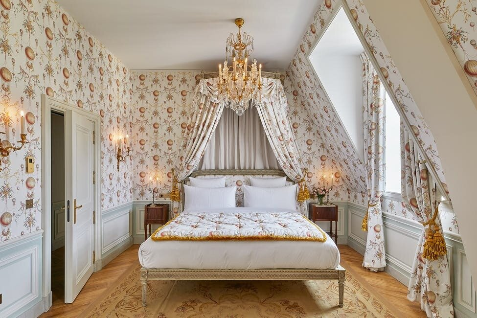 In addition to Tollemer, the hotel also commission multiple local artists to restore many of the historical features dotted throughout, including the wood paneling, stonework, and flooring.  Photo 8 of 11 in The Palace of Versailles Opens a New Hotel Where Guests Can Live Like Royalty
