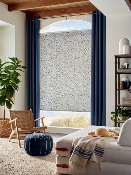 Seema Krish's Reflections pattern (shown adorning a Hunter Douglas roller shade) is a highlight.