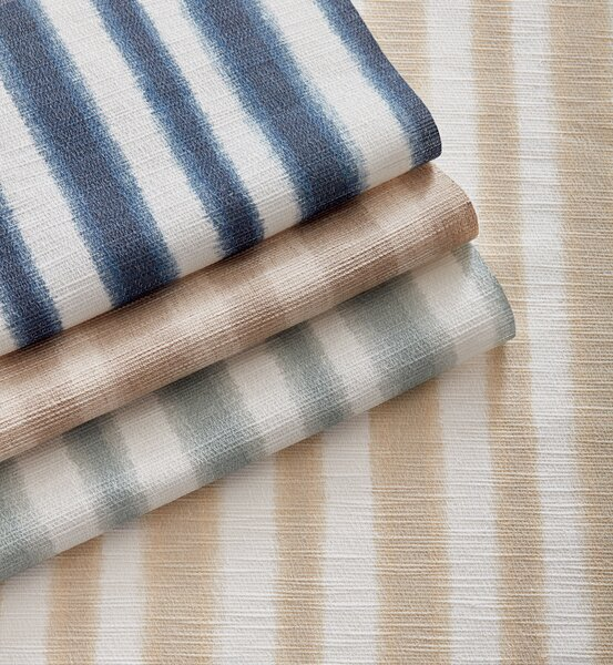 The texture and soft lines of Krish's Straits pattern (shown in detail) is reminiscent of traditional ikat dyeing techniques.