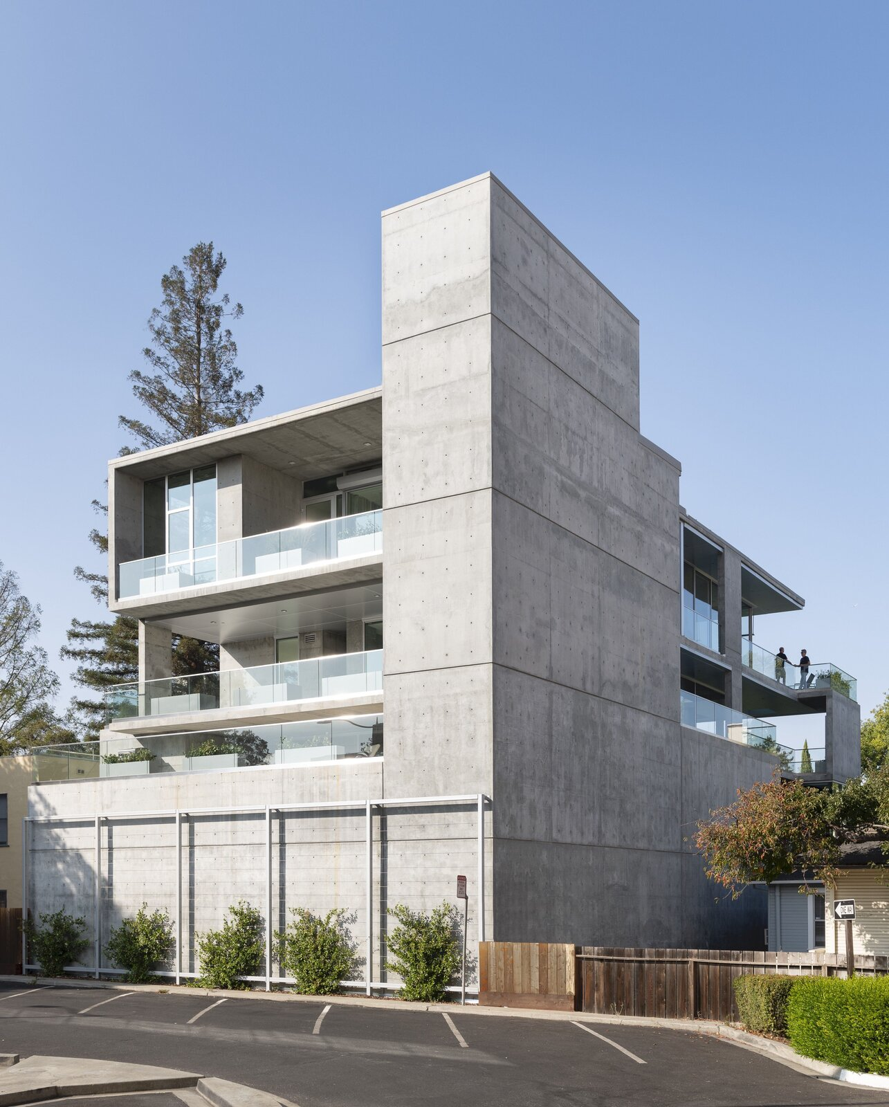 A review view of the structure reveals its monolithic form in concrete.  Photo 3 of 7 in A Net-Zero Building in Silicon Valley Gracefully Encompasses Both Work and Play