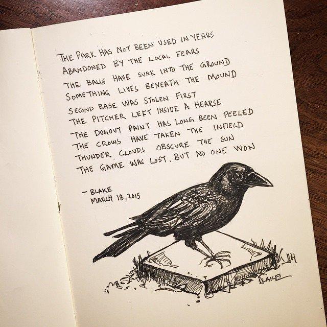 Edward Gorey inspiration, depressing baseball #molskine #ink #sketch  Sketchbook