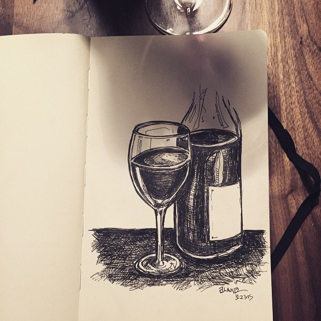 Wino with a pen and a #molskine. #sketch  Sketchbook