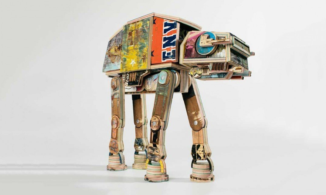 Star Wars AT-AT Walker sculpture made from recycled skateboards. By Denver based artist Derek Keenan facebook.com/mukee #starwars #skateboard #sculpture #art  Modern Skate