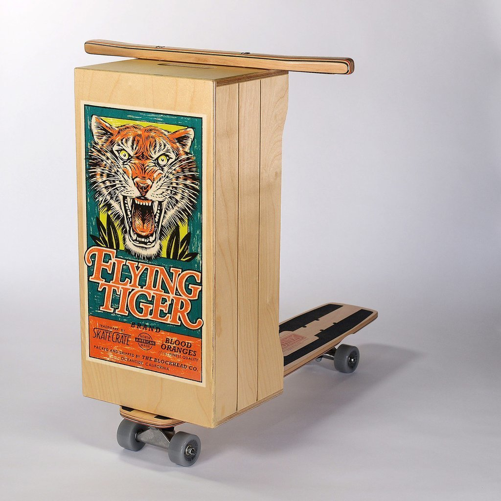 """Skate Crate: """"Flying Tiger brand Blood Oranges vintage fruit crate label inspired (screen printed) graphic on a traditional squared box featuring a retro profile with side cuts, a carrying handle on top and grooves on the sides for a slatted look. High quality lacquer finish on box, deck and handle bars. """" http://skate-crate.myshopify.com/   Modern Skate"""