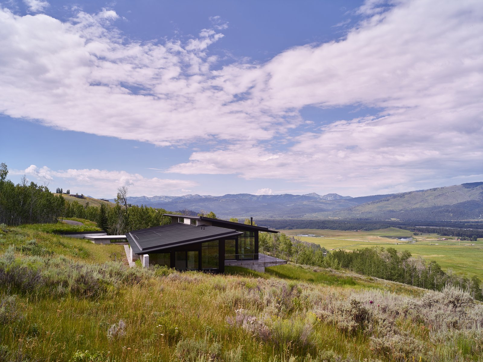 Outdoor, Field, Slope, Trees, Shrubs, and Flowers With respect to the sloping meadow, the home is designed to coexist and therefore never breaks the ridgeline.  Best Photos from Wyoming Residence