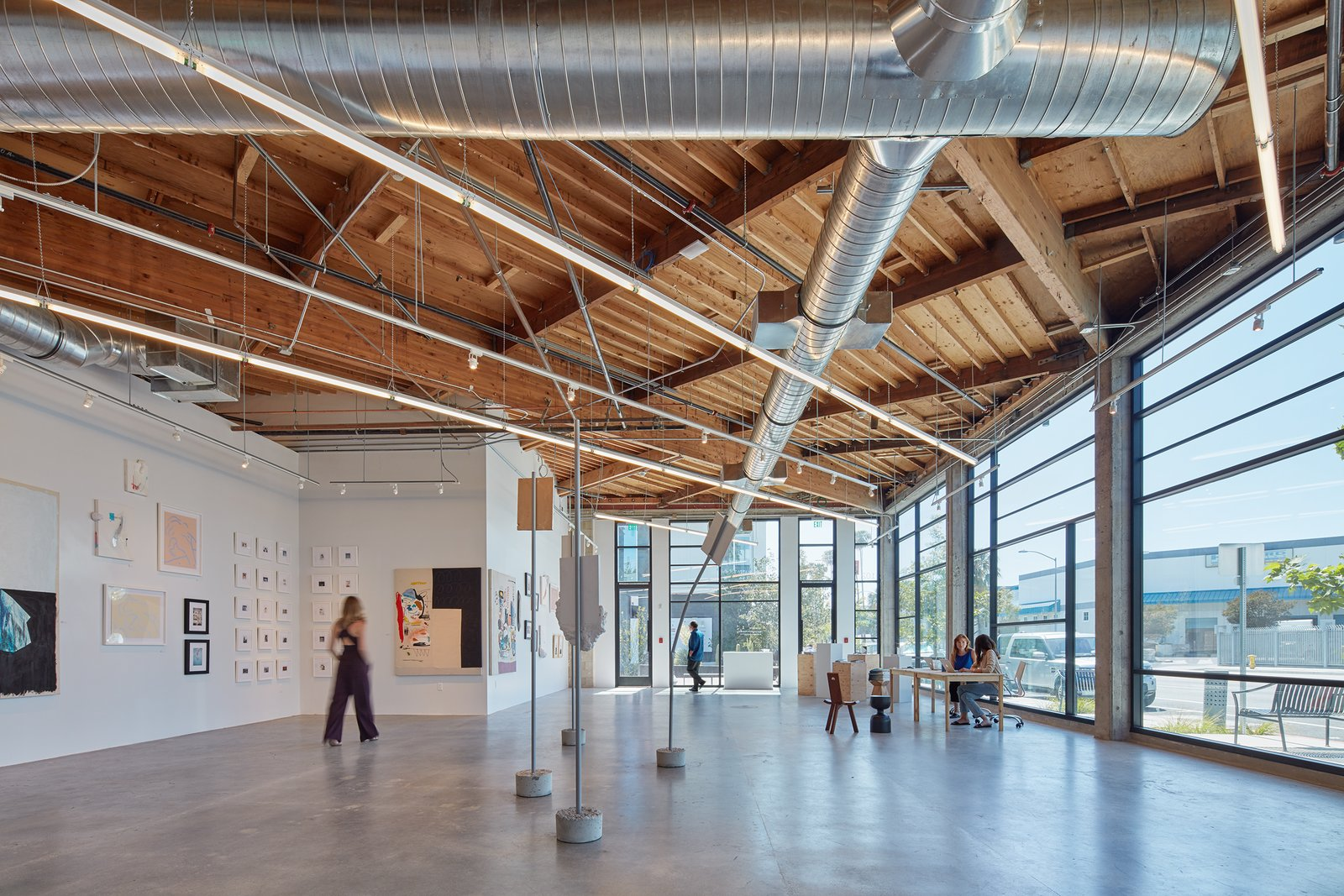 The old car dealership showroom was adapted into an art gallery.   PLATFORM by Abramson Teiger Architects
