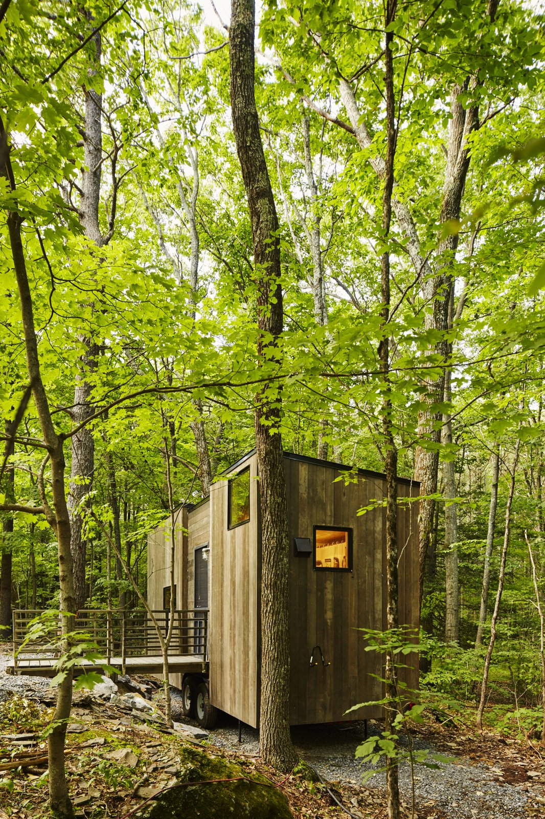 The Isidore cabin sleeps four.  Cabin from Forgo the Tent and Give a Tiny House a Test Drive
