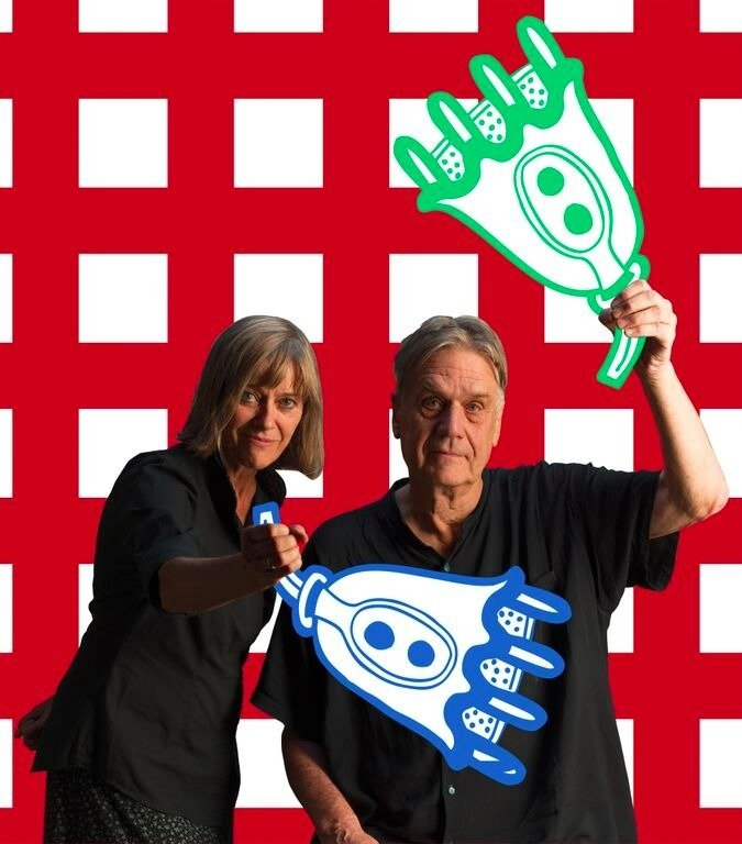Nathalie Du Pasquier and George Sowden are shown here holding a pair of wacky props that imitate a motif that can be found in the textiles.  Photo 3 of 8 in Q&A With the Design Duo Behind a Playful Textile Collection