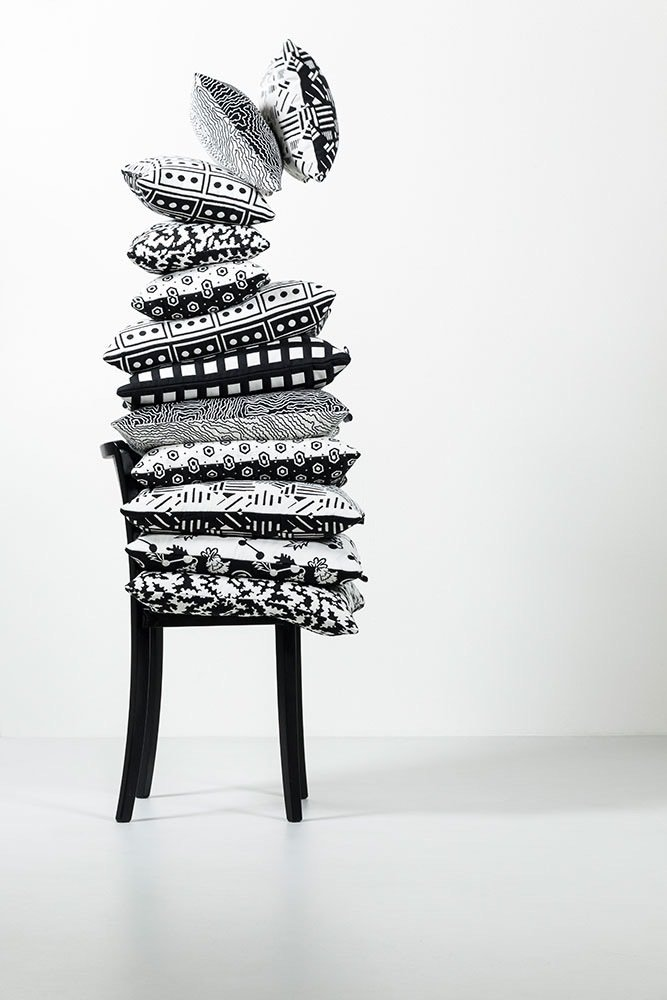 Their cushion line includes multiple patterns in two different sizes—all of which are made with black and white yarn that's specially woven on a jacquard loom in ZigZag Zurich's Italian mill.  Photo 6 of 8 in Q&A With the Design Duo Behind a Playful Textile Collection