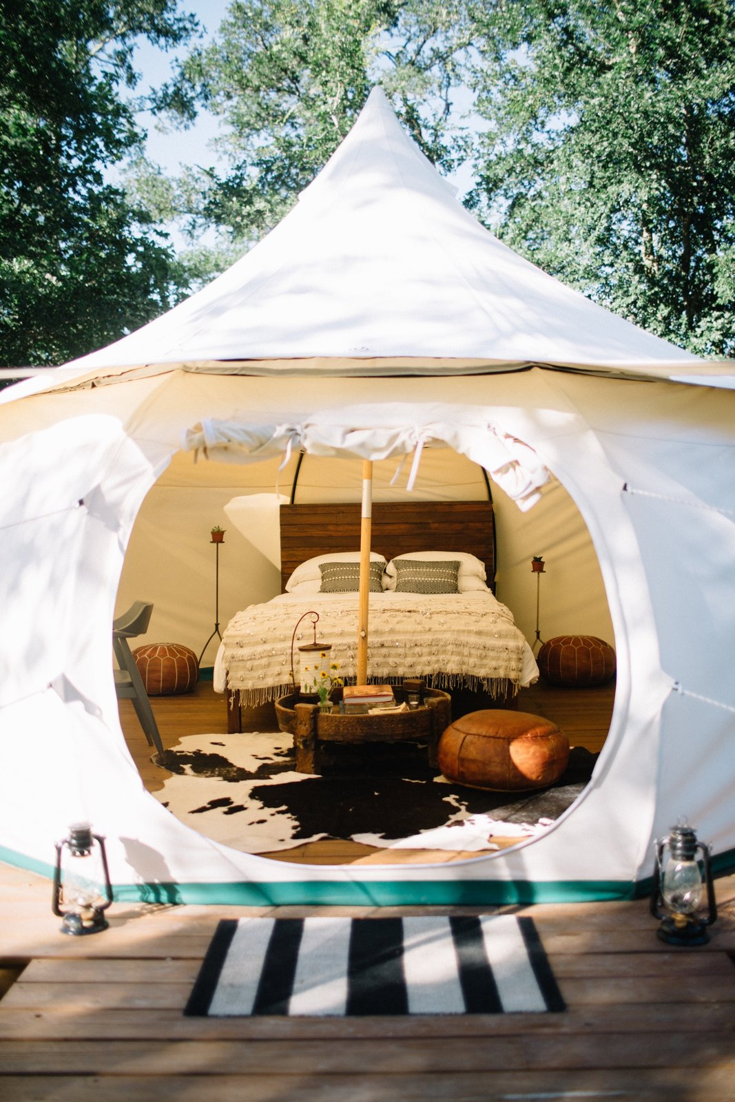 Exterior and Tent Building Type Also available is the Marrakech yurt, which fits two adults with a queen bed and a blow up bed.  Photo 3 of 8 in A Texas Camping Spot Complete With Yurts and Miniature Donkeys