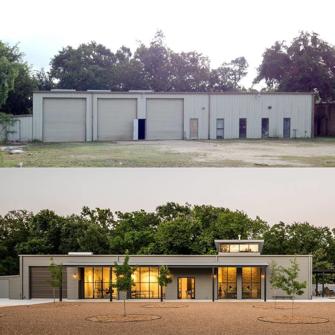 This before-and-after shot shows how Content Architecture turned a forgotten auto body shop into a light-filled home.  Photo 3 of 3 in You'd Never Guess This Home Used to Be an Auto Body Shop