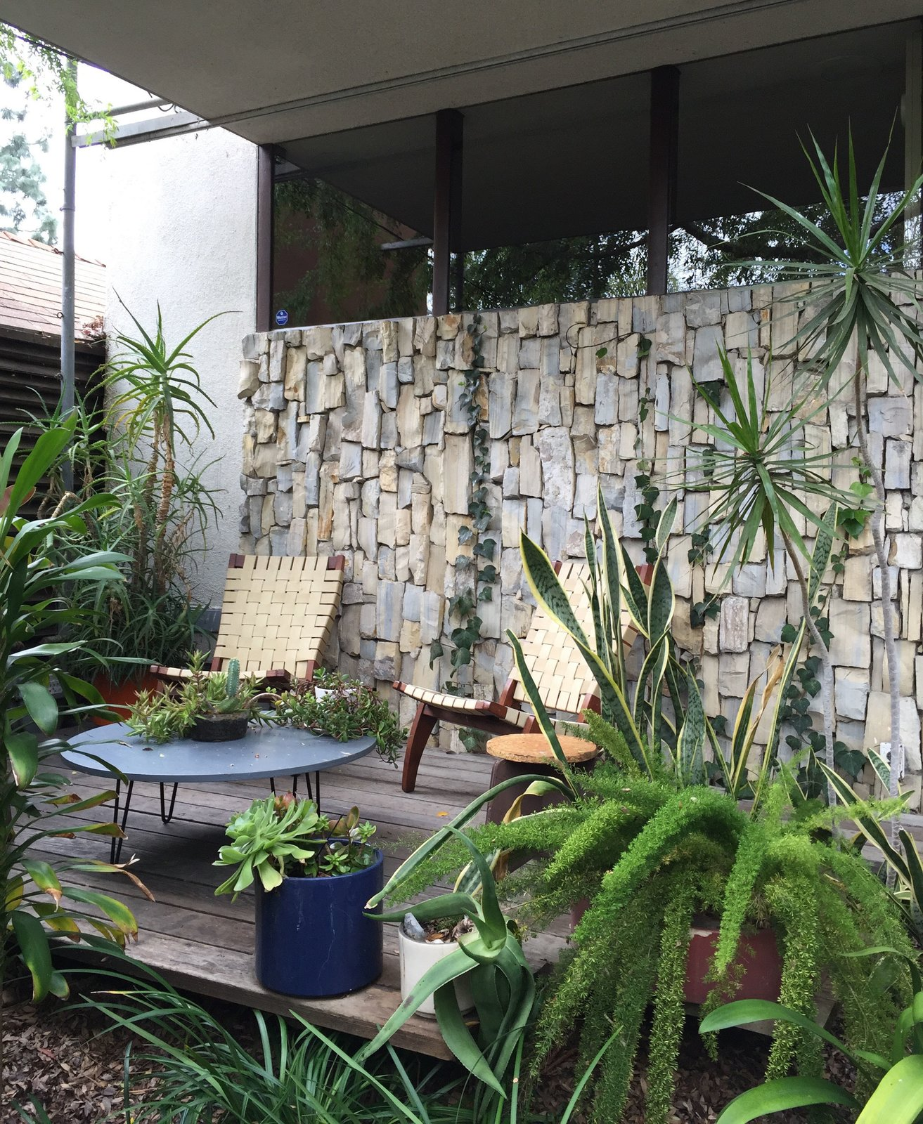 Like many modernist houses in Southern California, the courtyard was one of the most cherished locations and helped bring together both sections of the house with a pocket garden. Even after being cut 15 years ago, ivy plants continue to spread and shield the house from intense Southern sun exposure.  Photo 9 of 11 in Iconic Perspectives: Richard Neutra's VDL Studio & Residences