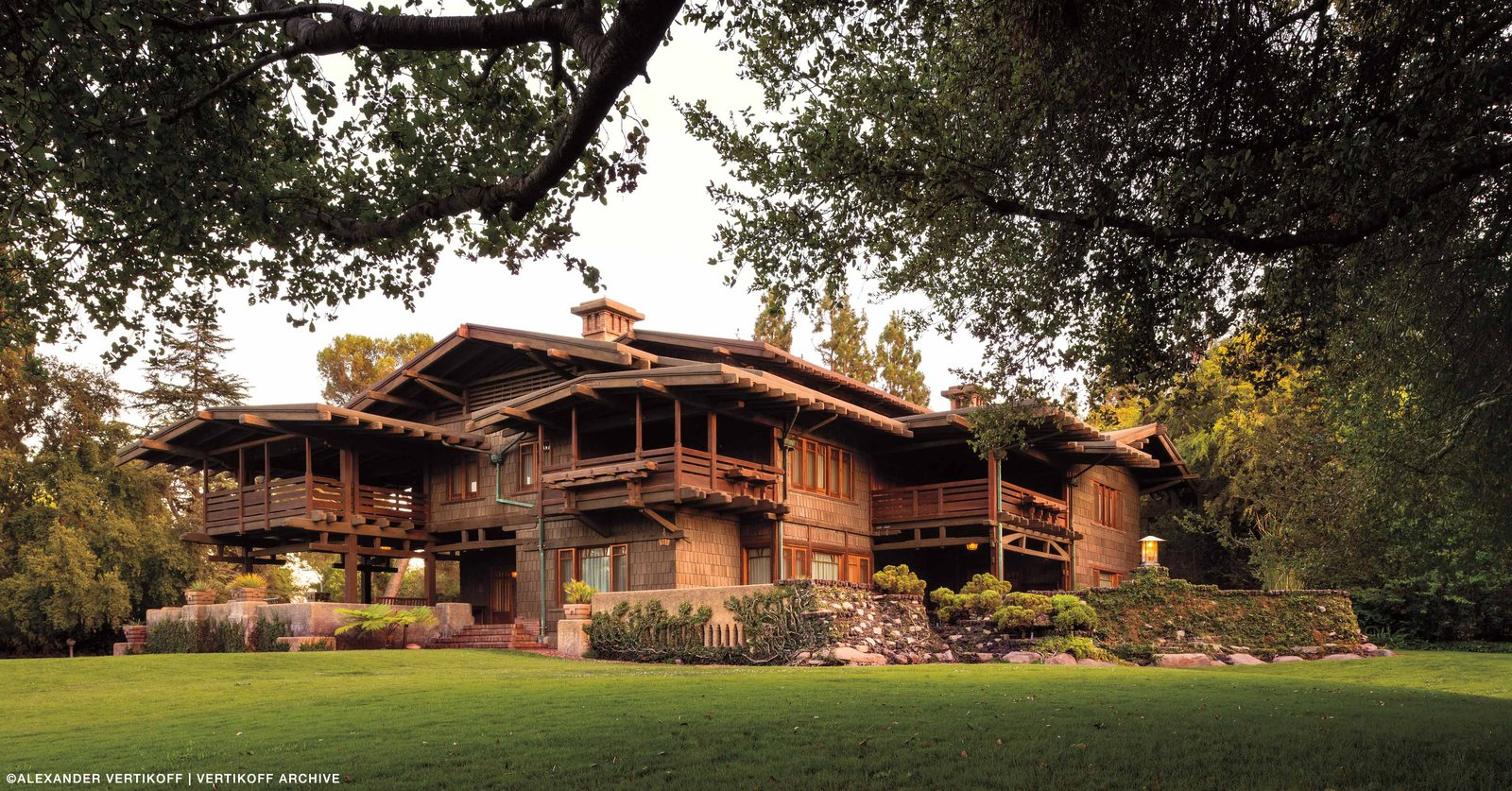 Exterior, House Building Type, Wood Siding Material, and Gable RoofLine The Gamble House, which was built by the Greene Brothers for the Proctor and Gamble family in 1908, is known as one of the most authentic and well-preserved examples of the Arts and Crafts movement that spread like a wildfire in the Los Angeles neighborhood of Pasadena. Every detail of the the house was crafted by hand with an abundance of natural materials. Photo by Alexander Vertikoff, Courtesy of the Gamble HouseUltimate bungalows  Photo 2 of 8 in Iconic Perspectives: Greene & Greene's Gamble House