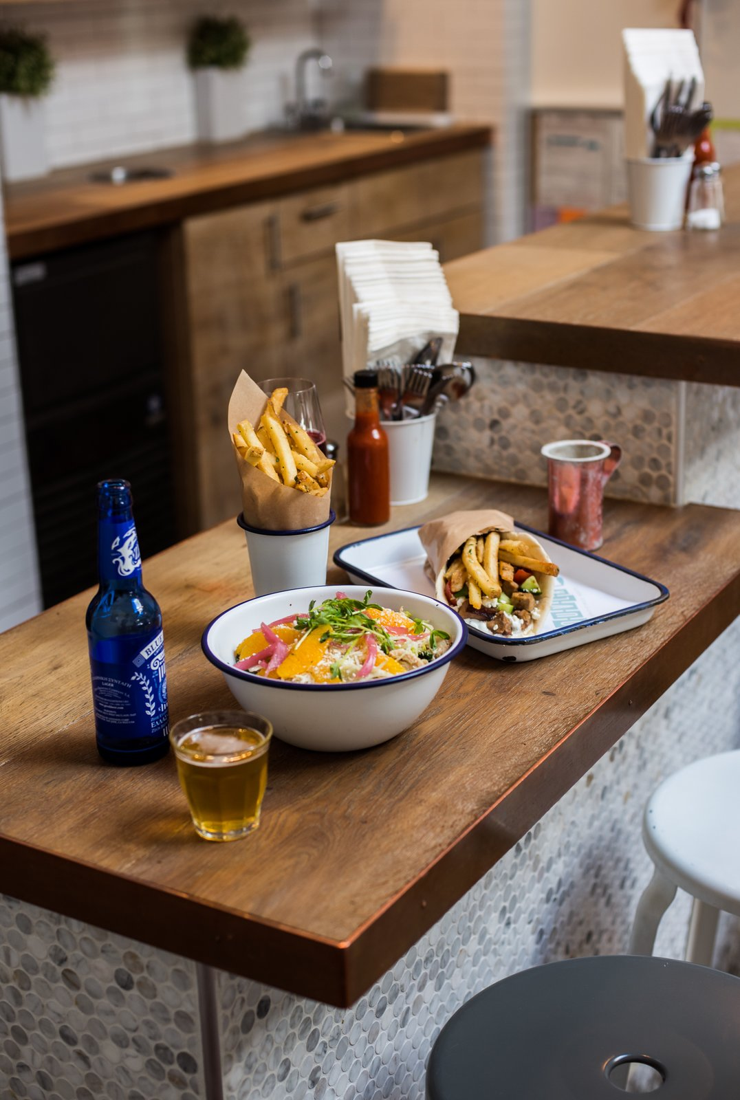 The enamelware is from San Francisco-based company Crow Canyon Home. It was originally found by Bililies at a local art store.  Photo 7 of 7 in A San Francisco Greek Restaurant That's Become a Neighborhood Staple