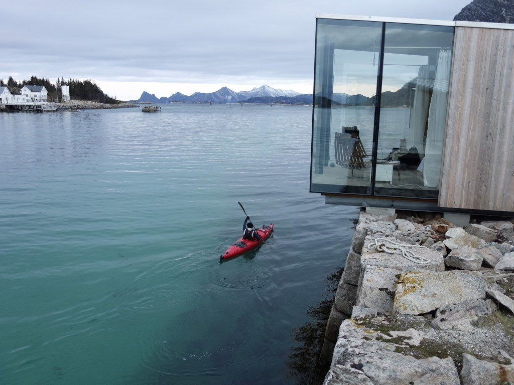 Exterior, House Building Type, Wood Siding Material, and Glass Siding Material Stinessen placed each cabin carefully in order to ensure the best possible views and the right amount of privacy.  Off the grid from Have You Ever Wanted to Stay in a Norwegian Sea Cabin?
