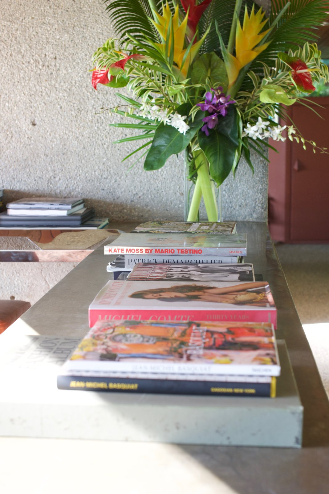 Goldstein's inspirations and experiences can be found throughout the house in photos, magazines, and books.  Behind the Scenes at John Lautner's Sheats-Goldstein Residence