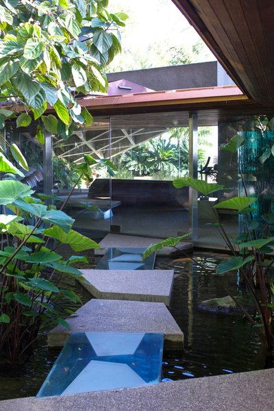 Above the pond is an opening that allows the whole house to feel connected to the outdoors.  Behind the Scenes at John Lautner's Sheats-Goldstein Residence