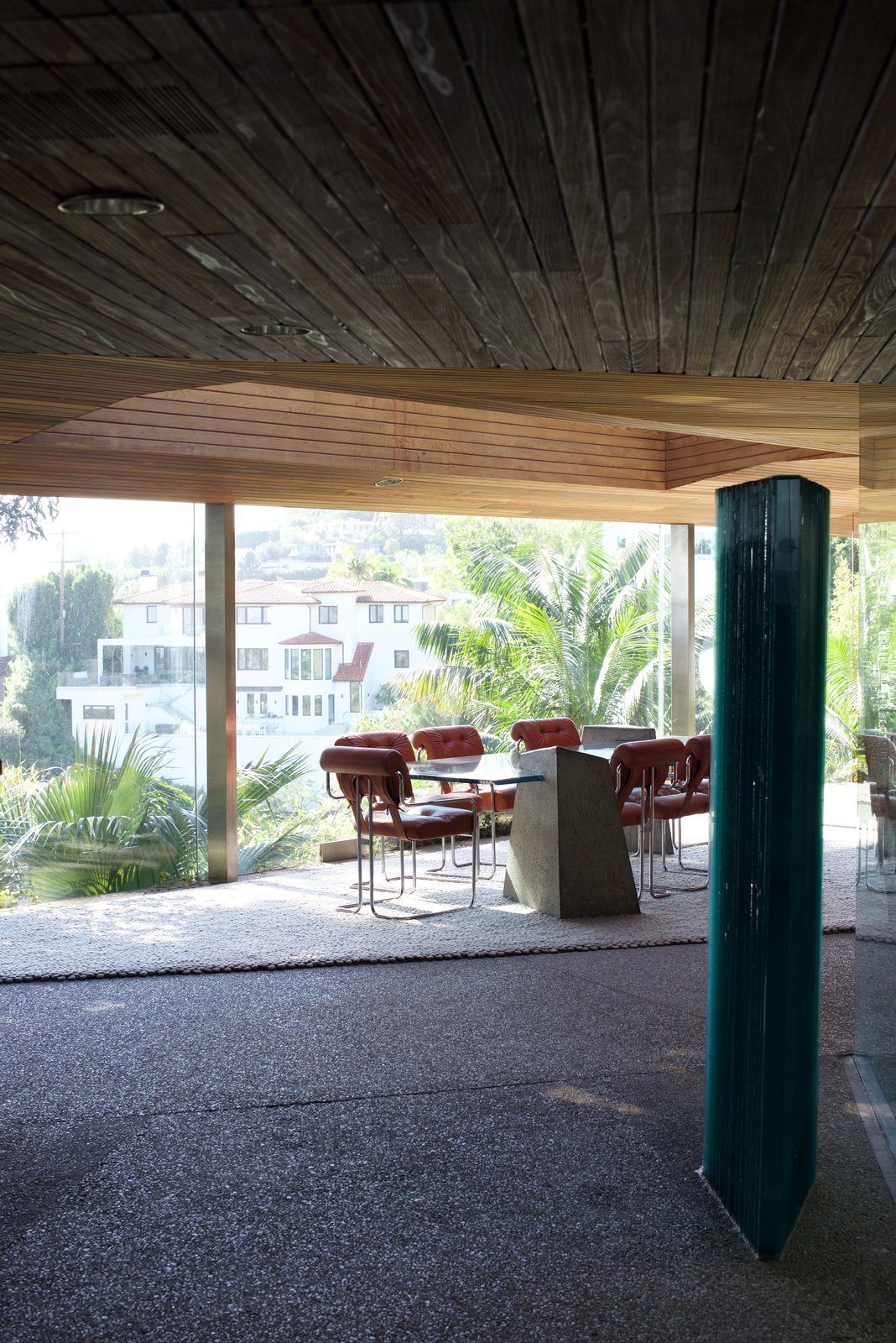 This view looks into the dining room, while revealing the wood ceilings that Goldstein had installed with Lautner.  Behind the Scenes at John Lautner's Sheats-Goldstein Residence