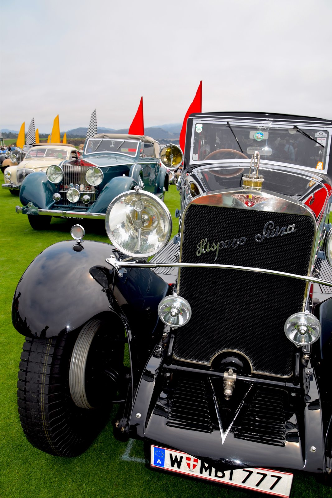 The 1926 Hispano-Suiza H6B Chapron Cabriolet was re-bodied in 1931 by Henri Chapron for the 1932 Paris Salon de l'Automobile and is thought to have been owned by the king of Tunisia. After being brought to the U.S. in the '50s by Alec Ulmann, it was sold to Joe Weider in NY, who owned it for 40 years.  Photo 9 of 10 in A Day at the Pebble Beach Concours d'Elegance Car Show