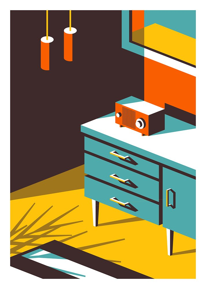 With a similar color palette, Booth focuses on the angles and shadows that can be created with midcentury furnishings.  Photo 3 of 4 in Midcentury Illustrations—From Kentucky to Paris
