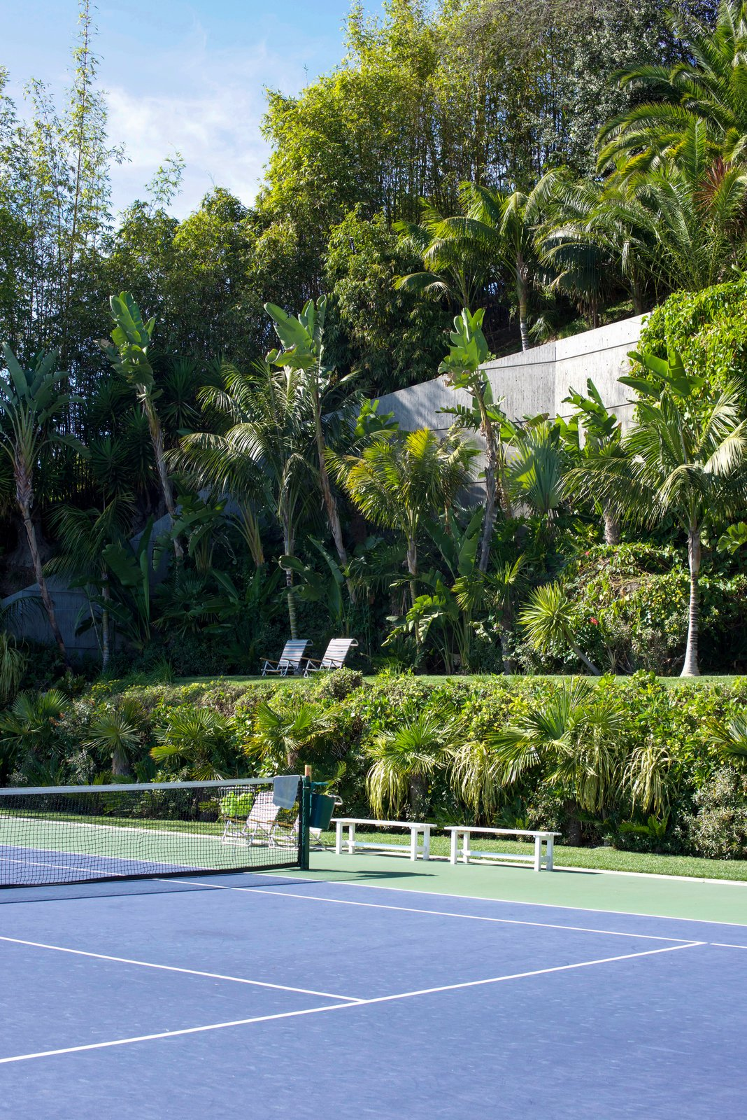 Goldstein's jungle extends over four acres of the property and lines the infinity tennis court.  Behind the Scenes at John Lautner's Sheats-Goldstein Residence